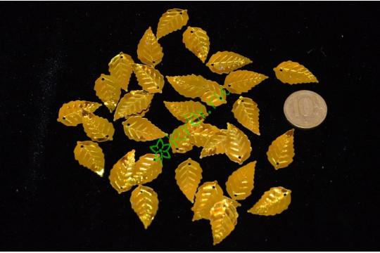 Пайетки Листья, золото