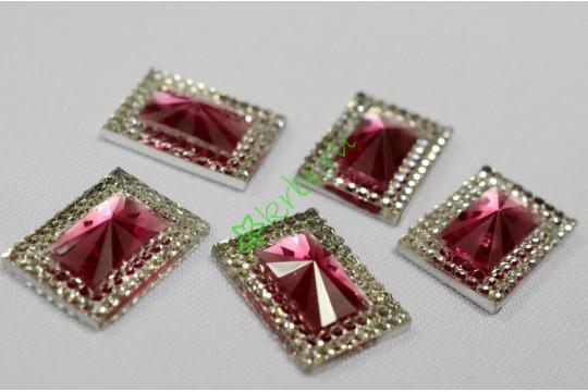 Стразы двухцветные прямоугольные серебро/розовый, 5 шт