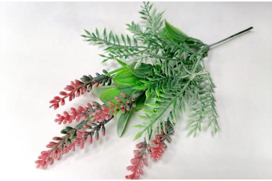 Ветка зелени с лавандой Стюарт красная, шт