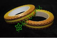 Лента кружевная золото/желтая 20 мм, 3 м