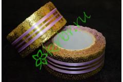 Лента кружевная золото/сиреневая 50 мм, 3 м