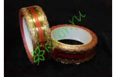 Лента кружевная золото/красный 30 мм, 3 м