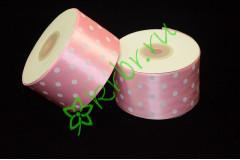 Лента атласная горох нежно-розовая 50 мм, 1 м