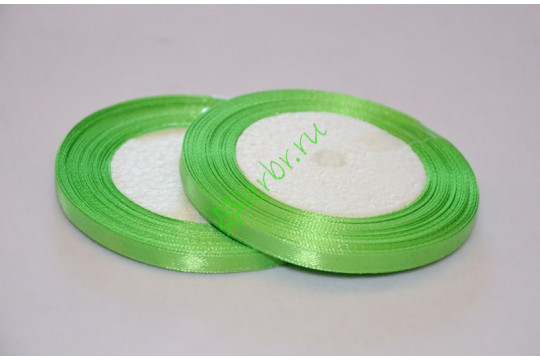 Лента атласная зеленое яблоко 6 мм, метр