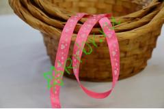 Лента атласная розовая с рисунком сердечки, метр
