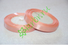 Лента атласная Розово-персиковая 12 мм, метр
