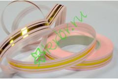 Лента полипропилен с золотой полосой нежно-розовая, 3 м