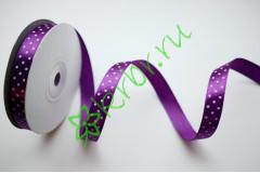 Лента атласная горох фиолетовая 12 мм, 1 м