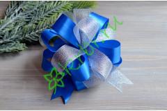 Бант-шар атласный с люрексом серебро/синий, шт