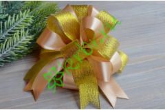Бант-шар атласный с люрексом золото/капучино, шт