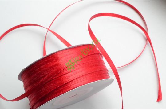Лента атласная (8055) Красная 3 мм, 3 м