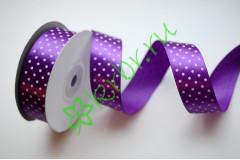 Лента атласная горох фиолетовая 25 мм, 1 м