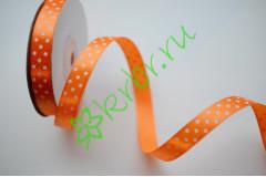 Лента атласная горох оранжевая 12 мм, 1 м
