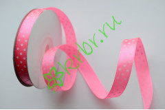 Лента атласная горох розовая 12 мм, 1 м