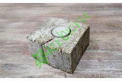Подсвечник деревянный 10х10х6 см, белый