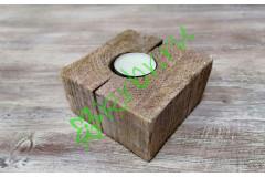 Подсвечник деревянный 10х10х6 см, розовая патина