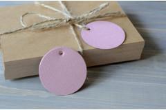 Бирка круглая розовая, 5 шт