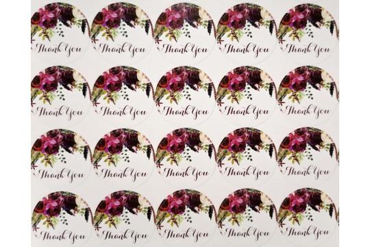 """Наклейки круглые """"Thank you"""", 7 шт"""