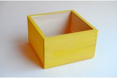 Кашпо ящик деревянный 15х15х9,5 см, лимонный