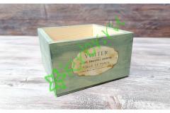 Кашпо ящик деревянный 15х15х9,5 см с декором, олива