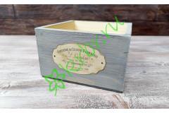 Кашпо ящик деревянный 15х15х9,5 см с декором, серый