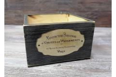 Кашпо ящик 15х15х9,5 см с декором, состаренный черный