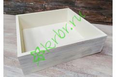 Ящик бокс состаренный Белый, 25х25х7,5 см