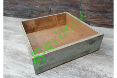 Ящик бокс состаренный орех/голубой, 25х25х7,5 см