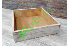 Ящик бокс состаренный орех/белый, 25х25х7,5 см