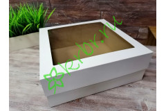 Подарочная коробка кр/дно с окном Белая 40х40х15 см, шт
