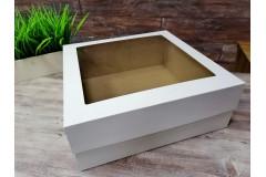 Подарочная коробка кр/дно с окном Белая 30х30х14 см, шт