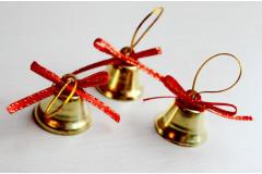 Набор колокольчиков со звоном золотой, 3 шт