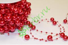 Бусины Шарики 14 мм на нити, красный