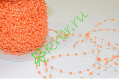 Бусины 2 мм на нити, оранжевый