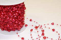 Бусины Сердечки на нити, красный
