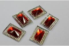 Стразы двухцветные прямоугольные серебро/красный, 5 шт
