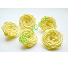 Роза из атласной ленты малая лимонная, шт.