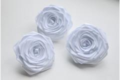 Роза из атласной ленты большая белая, шт.