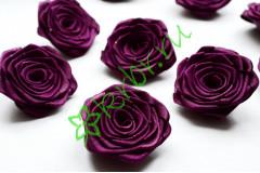 Роза из атласной ленты малая сливовая, шт.