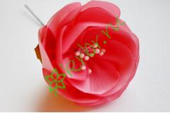 Камелия из атласной ленты розовый атлас, шт.