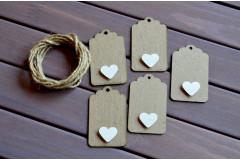 Бирки крафт с декором белые сердечки, 5 шт.