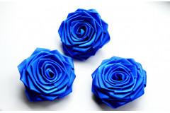 Роза из атласной ленты большая синяя, шт.