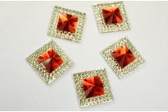 Стразы двухцветные квадратные серебро/красный, 5 шт
