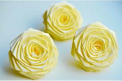 Роза из атласной ленты большая лимонная, шт.