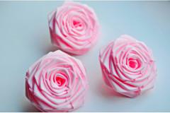 Роза из атласной ленты большая розовая, шт.