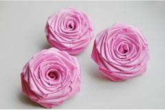 Роза из атласной ленты большая розово-сиреневая, шт.