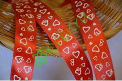 Лента атласная с рисунком Сердца красная, метр