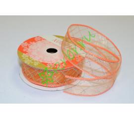 Лента органза Клетка оранжевая, 1 м