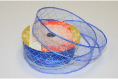 Лента органза Клетка синяя, 1 м