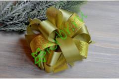Бант-шар атласный с люрексом золото/оливковый, шт